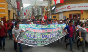 Productores de papa de Huánuco protestan frente a la sede del Minagri