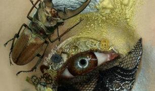 EEUU: artista utiliza insectos disecados para maquillarse