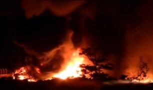 Chosica: incendio de medianas proporciones consume fábrica de zapatos