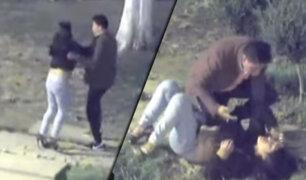 Huancayo: cámara capta a hombre agrediendo salvajemente a su pareja