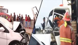 La Perla: chofer queda atrapado tras choque de auto con furgoneta