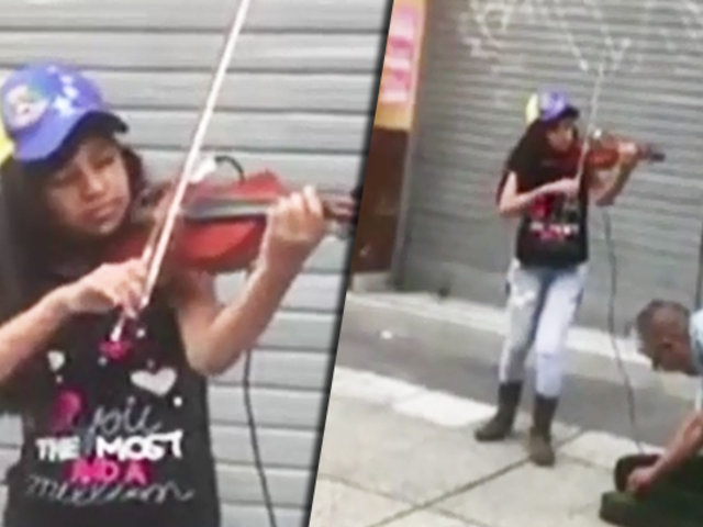 Centro de Lima: niña venezolana sorprende a transeúntes tocando el violín