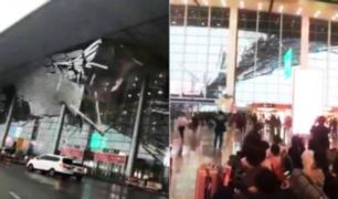 Cae techo de aeropuerto en China tras intenso viento