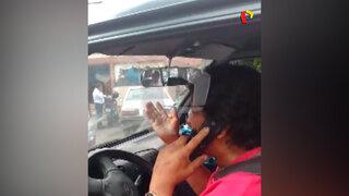 Jesús María: Chofer de servicio escolar discute por teléfono mientras transporta niños