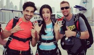 Instagram: ¡Sanaya Irani se lanzó a hacer paracaidismo en Dubái! [VIDEO]