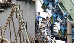 Japón: montaña rusa quedó suspendida con personas a 30 metros de altura