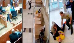 EEUU: hombre esposado abandonó corte y saltó por un balcón al intentar fugarse