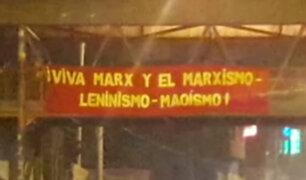 Cuelgan pancartas senderistas en diversos puntos de Lima
