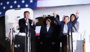 Donald Trump recibe a los tres estadounidense liberados por Corea del Norte