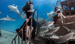 Bahamas: modelo posa con peligrosos tiburones en las profundidades del mar