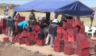 Puno: destruyen más de mil cajas de cervezas incautadas