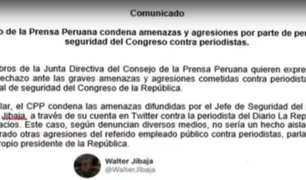 Consejo de la Prensa Peruana rechazó amenazas contra periodistas