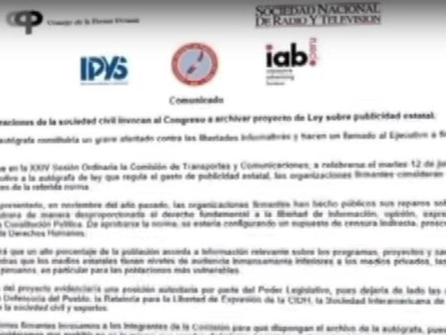 Organizaciones civiles invocan archivar ley sobre publicidad estatal