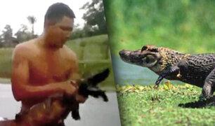 Iquitos: pobladores atrapan a lagarto que intentó morder a dos niños