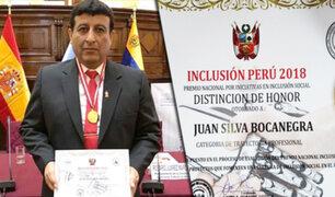 Premian a Coronel PNP Juan Silva Bocanegra en el Congreso de la República