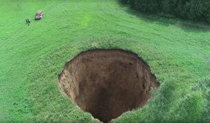 Rusia: aparece hoyo de 50 metros de profundidad