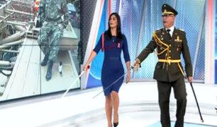 Gran Parada Militar: Pamela Acosta derrochó marcialidad y marchó en el set de Panamericana
