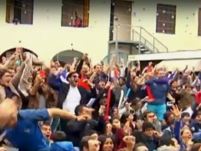 Franceses en Lima festejaron el titulo del Mundial Rusia 2018