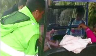 Tarapoto: policías atienden un parto en plena carretera Belaúnde Terry