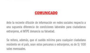 Ministerio de Trabajo descarta diferencia de sueldo mínimo para ciudadanos extranjeros