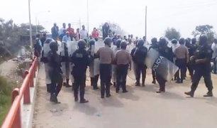 Tumbes: un detenido deja enfrentamiento entre policías y obreros de Construcción Civil