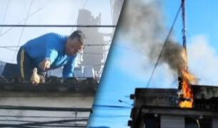 Tingo María: policías y bomberos salvan a pollitos durante incendio