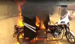 Tumbes: delincuentes roban vivienda y vecinos prenden fuego a mototaxi donde huían
