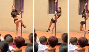 China: inauguran clases en kindergarden con bailarinas de pole dance