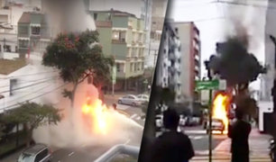 Miraflores: auto se incendia a pocos metros de la Embajada de Canadá