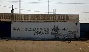 """Trujillo: realizan pintas en fachada de la iglesia """"El Aposento Alto"""""""