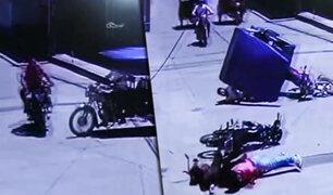 Tarapoto: se registra aparatoso choque entre motocicleta y mototaxi