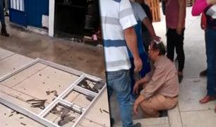 Surco: transeúnte iba por acera y una ventana le cayó desde un tercer piso