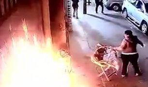 Gamarra: hombre arrojó bomba molotov contra vendedora ambulante