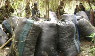 Incautan 459 kilos de hoja de coca y detienen a dos personas en el Vraem