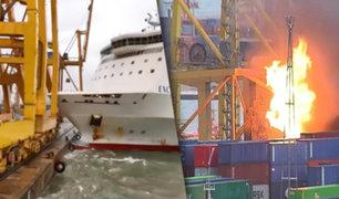 España: barco de carga choca contra un muelle y causa incendio en Barcelona