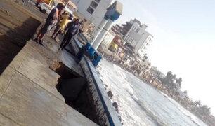Fuerte oleaje destruye parte del malecón turístico de Huanchaco
