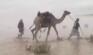 Arabia Saudita: lluvias torrenciales provocaron inundaciones en el desierto
