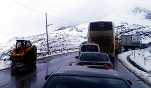 Ticlio: fuerte nevada obligó a cierre temporal de carretera