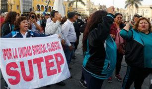 Profesores del Sutep protestaron en el Centro Histórico de Lima