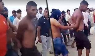 Piura: pescadores capturan y golpean a presunto ladrón que intentó escapar nadando