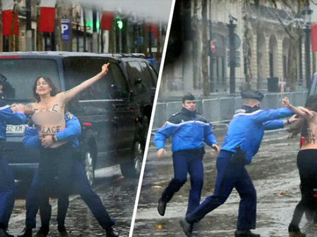 Francia: activistas de Femen protestan en 'topless' contra Trump
