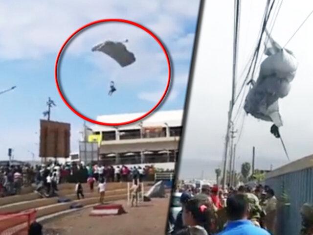 Ilo: paracaidistas de las Fuerzas Armadas sufren aparatoso accidente en Moquegua