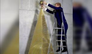 Construyen el árbol de Navidad más caro de Europa hecho con 2018 monedas de oro puro