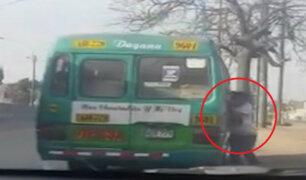 Panamericana Norte: custer arrastra a ladrón y pasajeros lo golpean