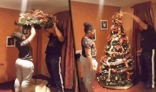 ¡Impresionante!: pareja arma su árbol de Navidad con luces y adornos en segundos