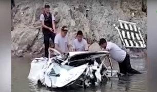 Huanta: siete muertos deja caída de minivan al río Mantaro