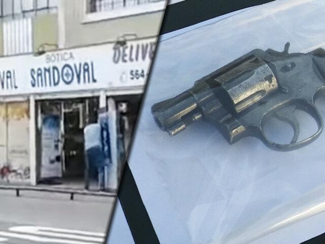 Cercado de Lima: delincuentes usaron arma robada a un policía en asalto frustrado a botica
