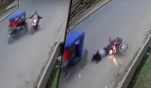 Pucallpa: ladrones en mototaxi interceptan en pleno movimiento a motociclista para robarle