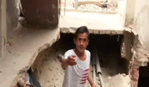 Rímac: tubería rota provocó enorme forado