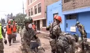 SJL: militares realizaron trabajos de limpieza en zona anegada
